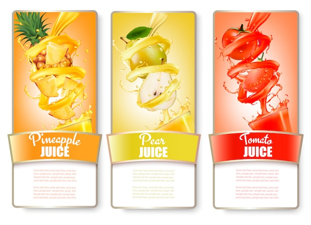 Set of three labels of of fruit in juice splash. pineapple, pear, tomato. .