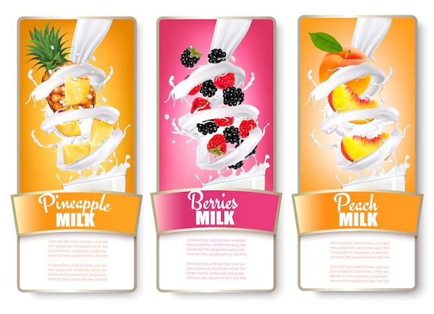 Set of three labels of of fruit in milk splashes. pineapple, blackberry, raspberry, peach. .