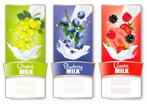 Set of three labels of of fruit in milk splashes. strawberry, blueberry, guava, raspberry, blackberry, grapes. vector.