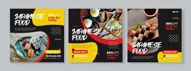 Set of three memphis fluid background of japanese food promotion banner social media pack template premium vector