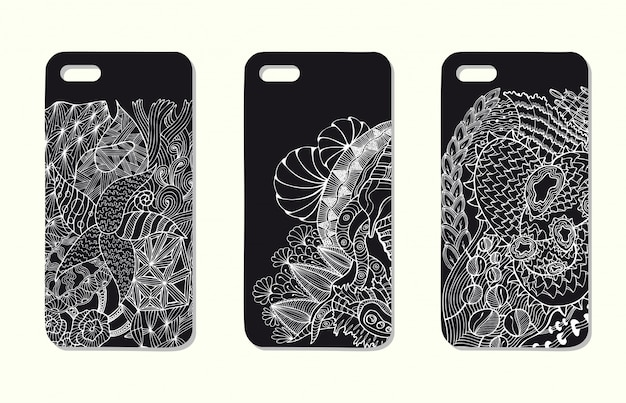 A set of three mobile phone cases. vector background in zentangle style.  handdrawn elements.