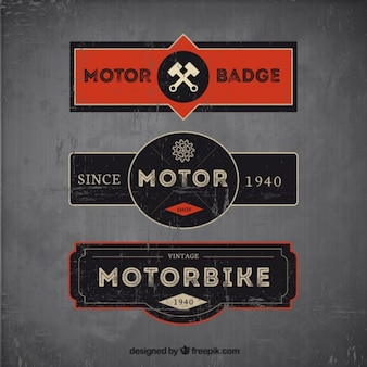 Set of three motorcycle badges in vintage style
