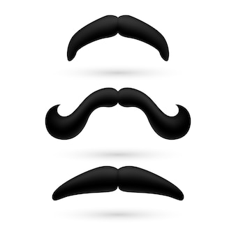 A set of three moustache