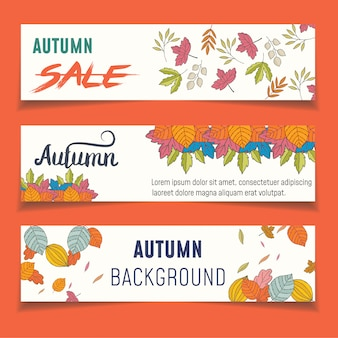 Set of three nature banners with colorful autumn leaves.