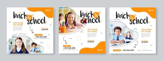 Set of three orange organic fluid banner of back to school social media pack template