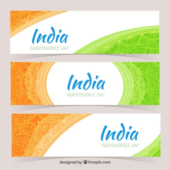 Set of three ornamental banners of india independence