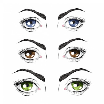 Set of three pairs of eyes, green, blue and brown