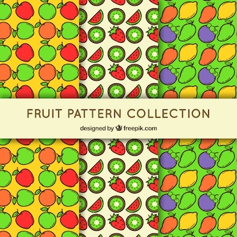 Set of three patterns with colored fruits in flat design