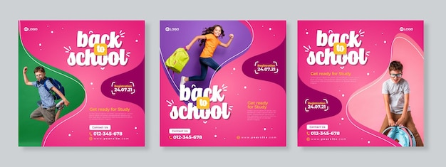 Set of three pink purple organic fluid banner of back to school social media pack template