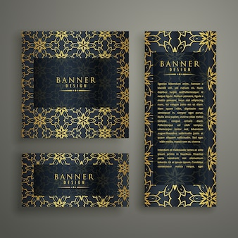 Set of three premium banners with pattern decoration