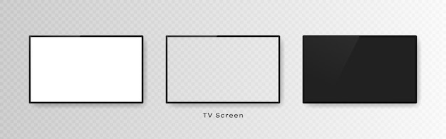 Set of three realistic television screens isolated on transparent.