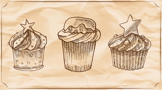 Set of three retro delicious muffins with the cream, chocolate and strawberry.
