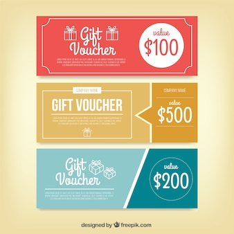 Set of three retro discount coupons