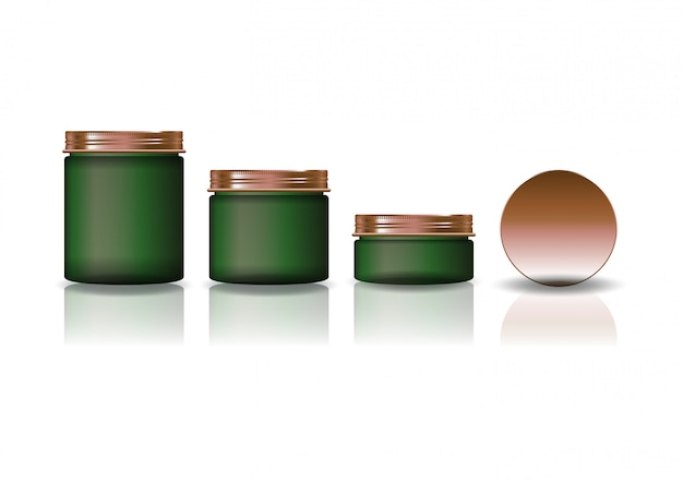 Set of three sizes green cosmetic round jar with copper lid.