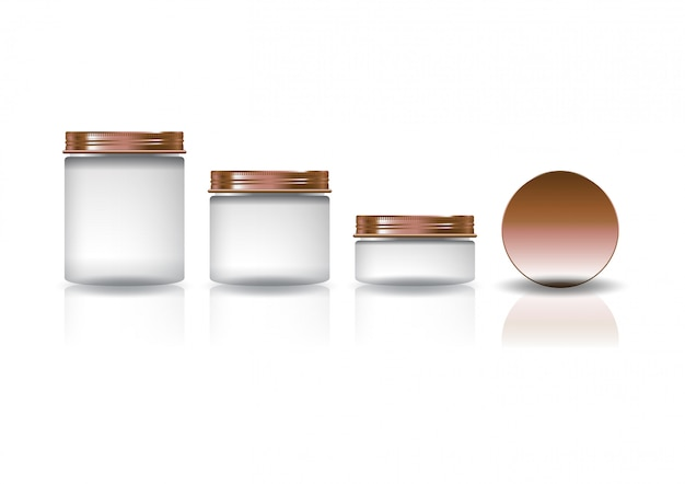 Set of three sizes white cosmetic round jar with copper lid.