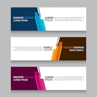 Set three square horizontal business banner templates.