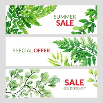 Set of three summer banners with green forest ferns