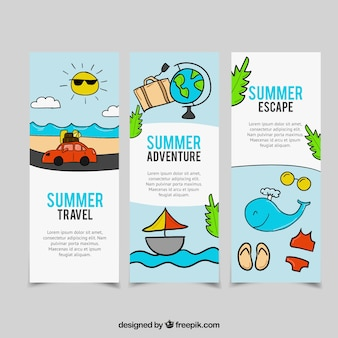 Set of three summer trip and hand drawn elements banners