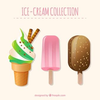 Set of three tasty ice creams in realistic design