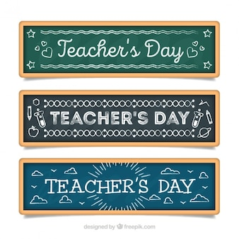 Set of three teacher's day slate banners