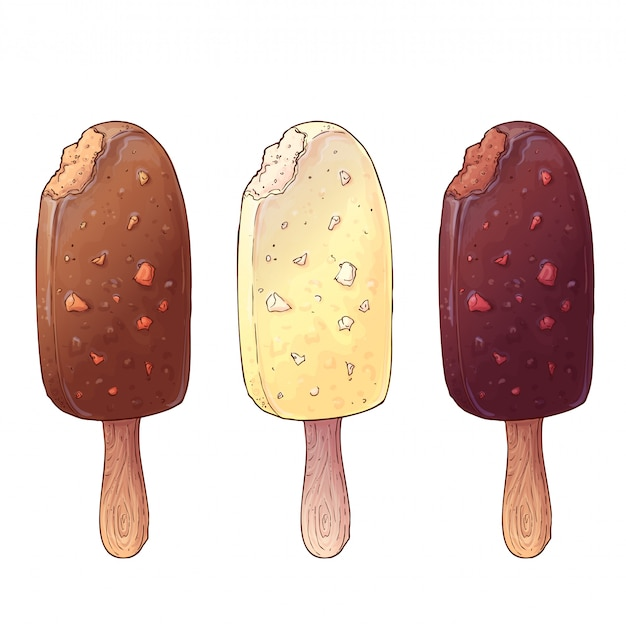 A set of three types of ice cream