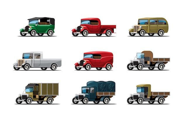 Set of three types of work cars in vintage or antique style on white