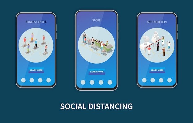 Set of three vertical banners in smartphone frames for social distancing