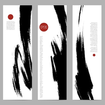 Set of three vertical banners with ink spots by brush.