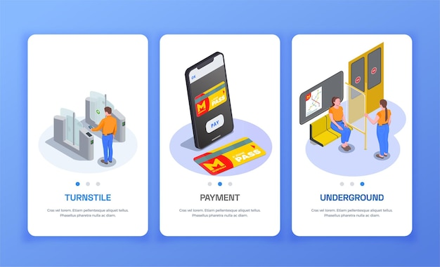 Set of three vertical banners with passengers in subway train turnstile and metro pass isometric isolated