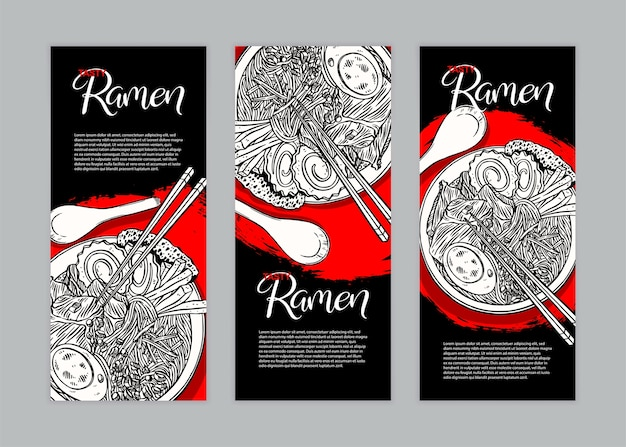 Set of three vertical banners with ramen and place for the text. hand-drawn illustration
