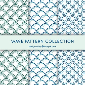 Set of three wave pattern with semicircular forms