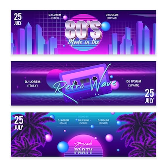Set of three wide horizontal realistic retro wave party banners with neon artwork and editable text