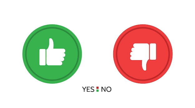 Set of thumb up and thumb down button icons.  isolated
