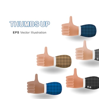 Set of thumbs up 3d cartoon illustration hands isolated on white background. vector design