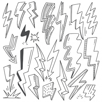 Set of thunder bolt in doodle style