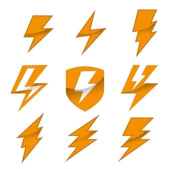 Set of thunder logo vector