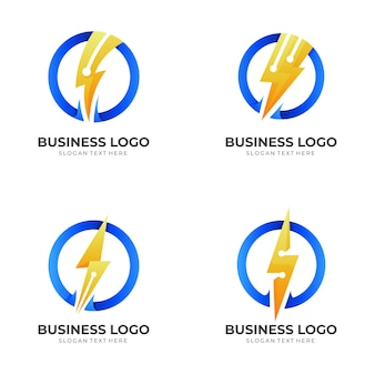 Set thunder tech logo, thunder and technology, combination logo with 3d blue and yellow color style