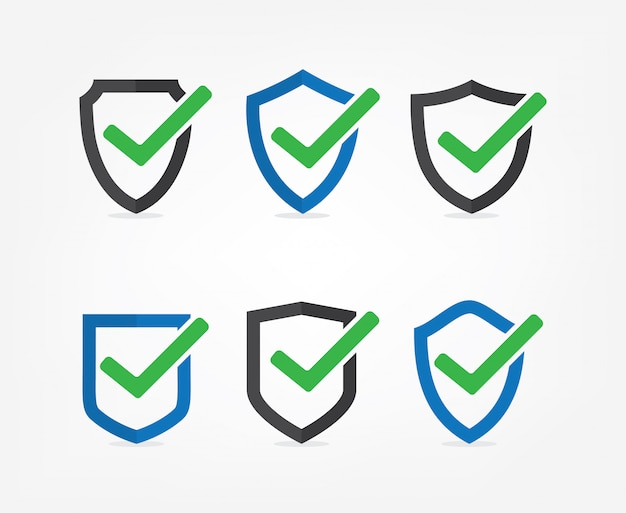 Set of tick mark approved icon vector on white background