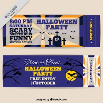 Set of tickets for halloween party
