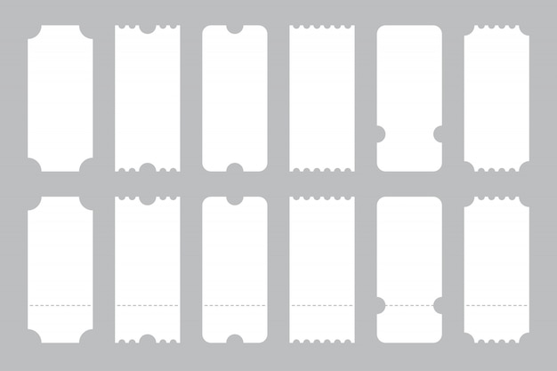 Set of tickets template of different forms.