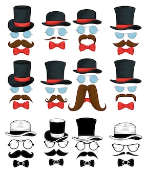 Set of tie bows with hats and glasses
