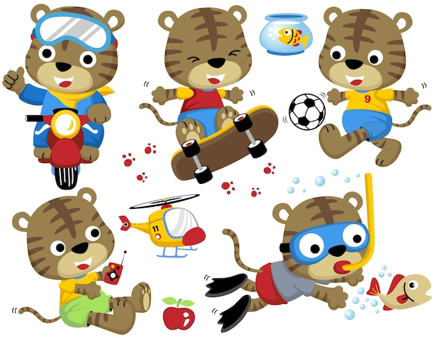 Set of tigers cartoon with playing activity