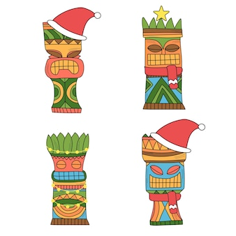 A set of tiki idols in christmas decor. colored idols for new year party