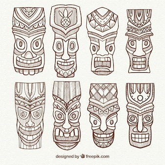 Set of tiki masks with exotic style