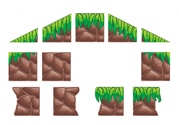 A set of tile set for creating 2d game wall and background