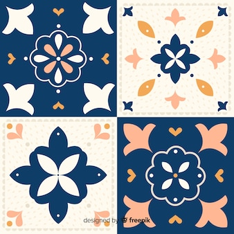 Set of tiles in flat design