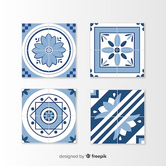 Set of tiles in flat style