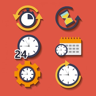 Set of time clock hour for plan work service