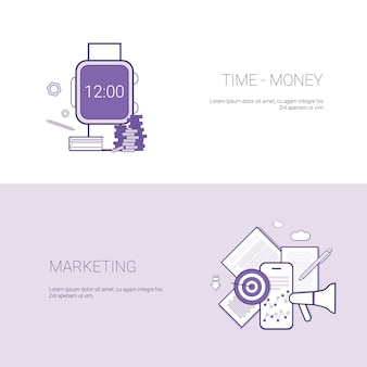 Set of time is money and marketing banners business concept template background with copy space