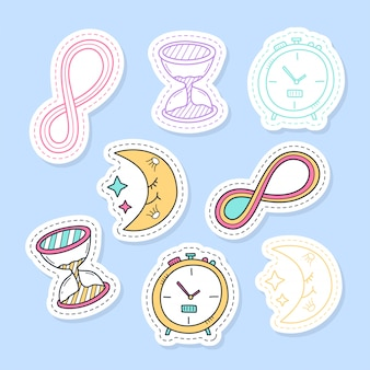 Set of time stickers, pins, patches and handwritten collection in cartoon style.